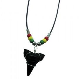 Rasta Beads Shark Tooth Pendant Necklace