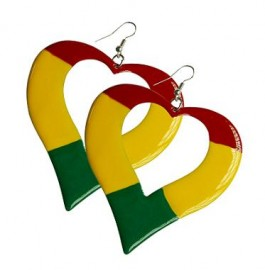 Rasta Colored Metal Heart Earrings - XL