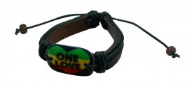 One Love Rasta Leather Bracelet
